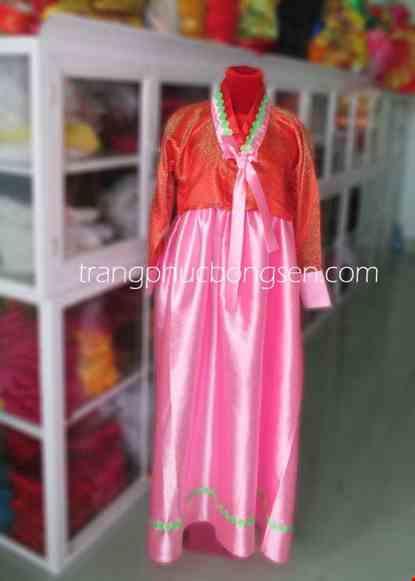 Cho thue Trang phục Hanbok Hàn Quốc màu hồng - cam