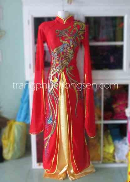 Cho thue Đầm múa ba tà rồng phượng màu đỏ