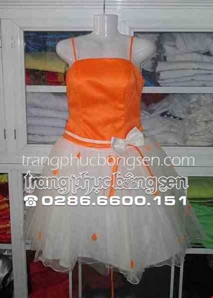 Cho thue Đầm voan phồng 3 lớp màu cam