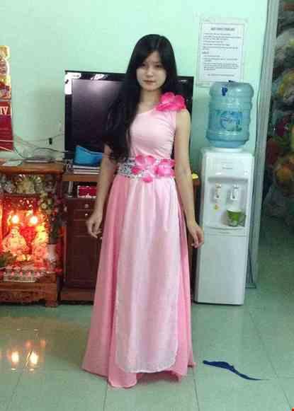 Cho thue Đầm múa dài áo váy hồng rời chéo vai
