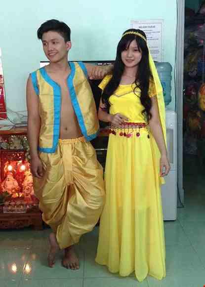 Cho thue Trang phục Ấn Độ (Áo - váy voan - kim sa vàng)