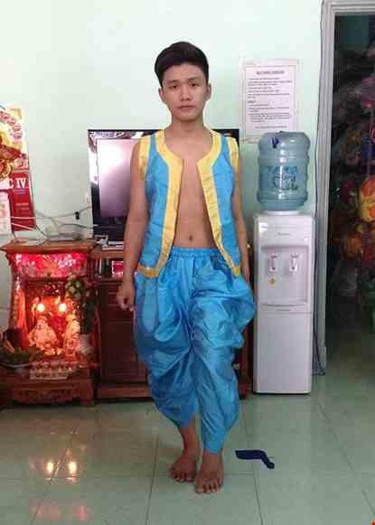 Cho thue Đồ Alibaba nam màu xanh ngọc