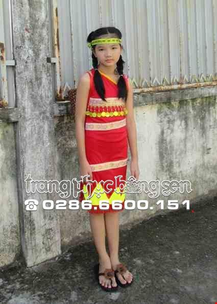 Cho thue Tây Nguyên trẻ em - Váy thun đỏ chéo vai