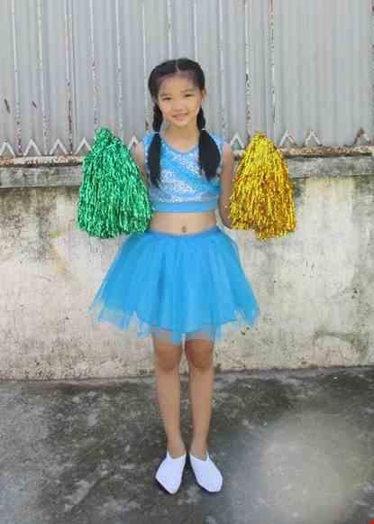Cho thue Đồ múa cổ động áo váy xanh dương tiểu học