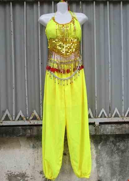 Cho thue Trang phục Ấn Độ (múa bụng, belly dance) Yếm kim sa, quần vàng