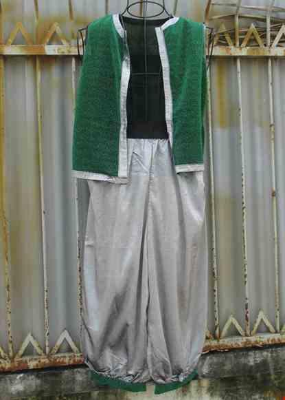 Cho thue Trang phục Alibaba nam áo xanh quần xám
