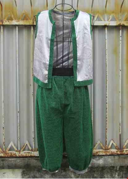 Cho thue Trang phục Alibaba nam áo xám quần xanh