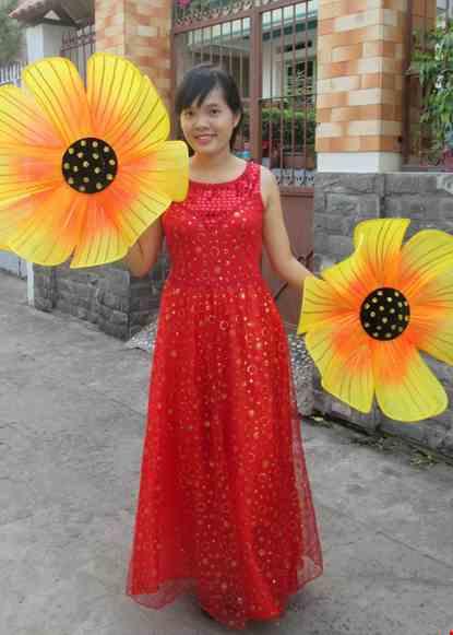 Cho thue Đầm múa dài kim sa đỏ