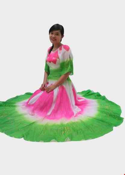 Cho thue Đầm múa sen tay xẻ