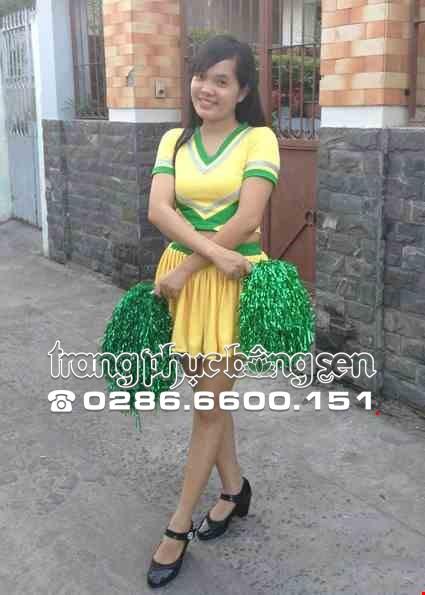 Cho thue Áo váy múa cổ động vàng phối xanh lá