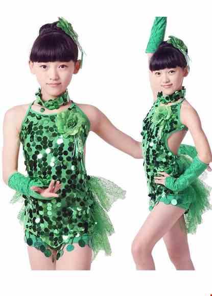 Cho thue Trang phục khiêu vũ trẻ em yếm váy kim sa xanh lá