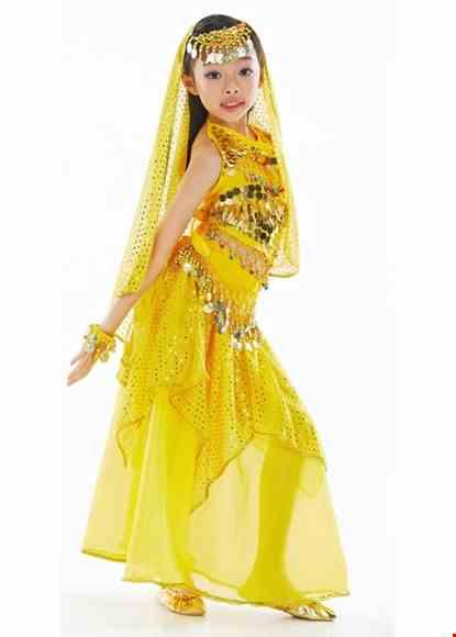 Cho thue Trang phục Ấn Độ (múa bụng, belly dance) trẻ em yếm, váy kim sa vàng