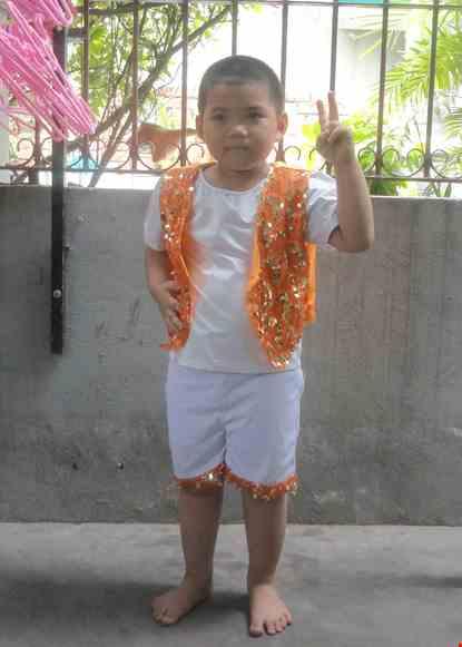 Cho thue Đồ múa trẻ em nam hiện đại kim sa cam
