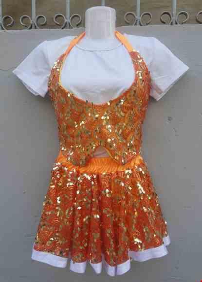 Cho thue Đồ múa trẻ em nữ hiện đại kim sa cam