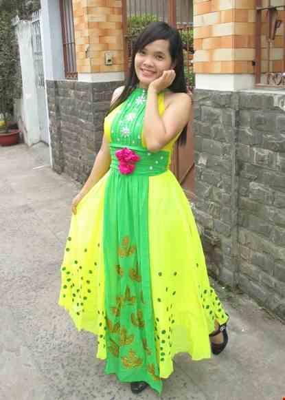 Cho thue Đầm hiện đại vàng - xanh lá hoa dán