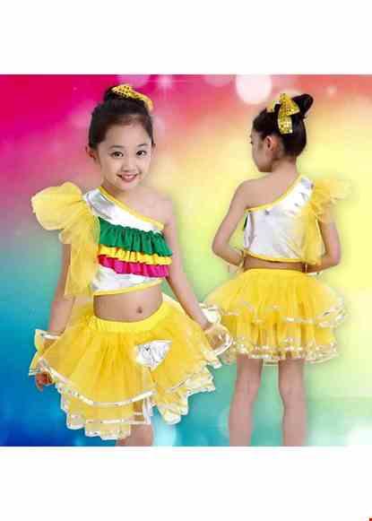 Cho thue Trang phục nhảy hiện đại trẻ em thun da màu vàng bèo 3 tầng