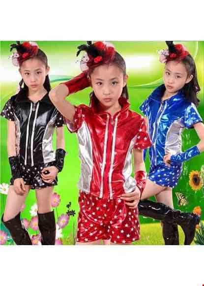 Cho thue Trang phục nhảy hiện đại áo quần thun da màu xanh họa tiết ngôi sao