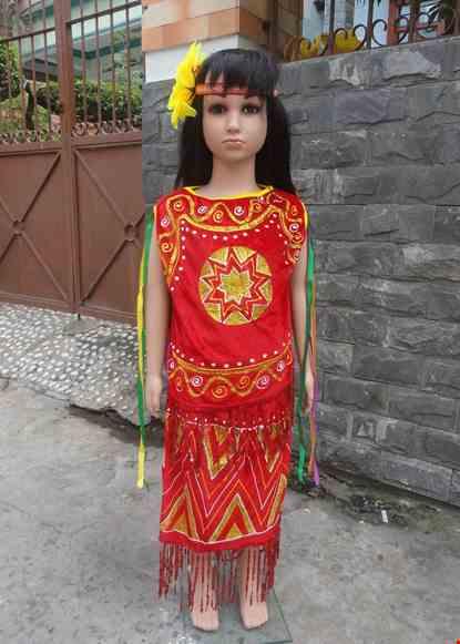 Cho thue Áo Váy Tây Nguyên mầm non nhung đỏ sát nách