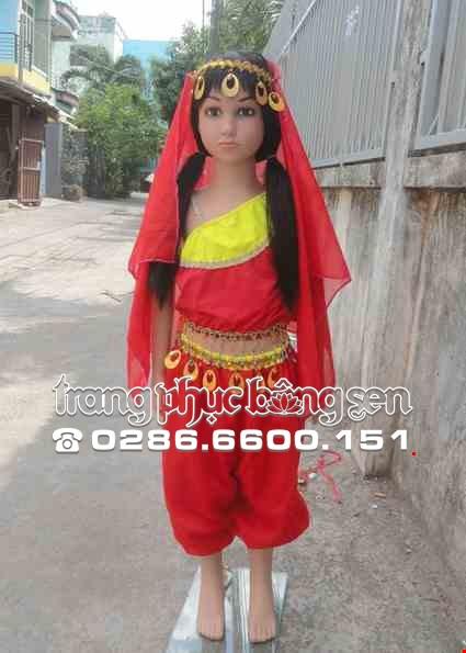 Cho thue Trang phục Ấn Độ (múa bụng, belly dance) mầm non áo, quần đỏ