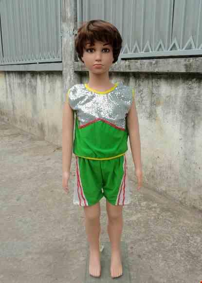 Cho thue Đồ múa aerobic mầm non nam quần áo xanh lá phối kim sa