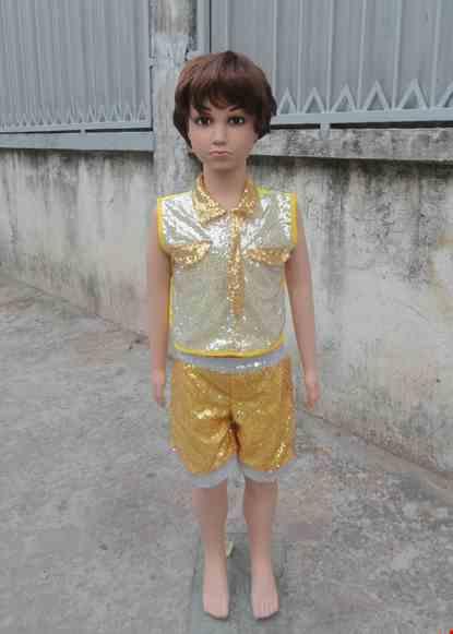 Cho thue Đồ múa hiện đại mầm non quần áo kim sa trắng vàng cổ gắn cà vạt