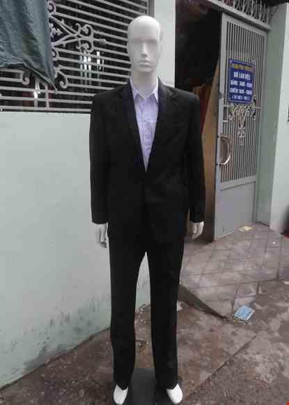 Cho thue Bộ áo vest nam đen cổ 2 lớp