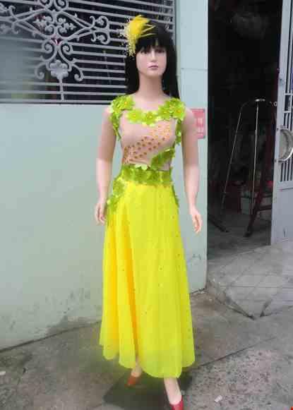 Cho thue Trang phục múa áo da dán hoa váy vàng