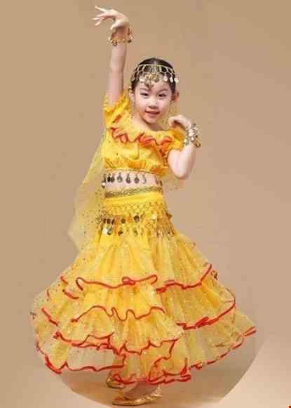 Cho thue Trang phục Ấn Độ (múa bụng, belly dance) tiểu học áo váy vàng 3 tầng