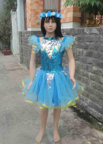 Cho thue Đầm múa trẻ em kim sa xanh biển cổ trụ