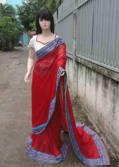 Cho thue Trang phục truyền thống Ấn Độ kim sa hột đỏ