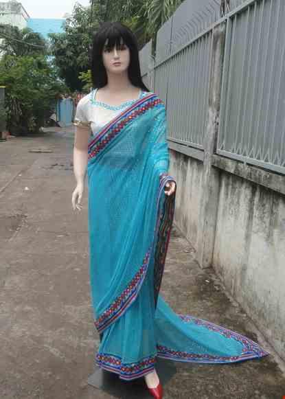 Cho thue Trang phục truyền thống Ấn Độ kim sa hột xanh biển