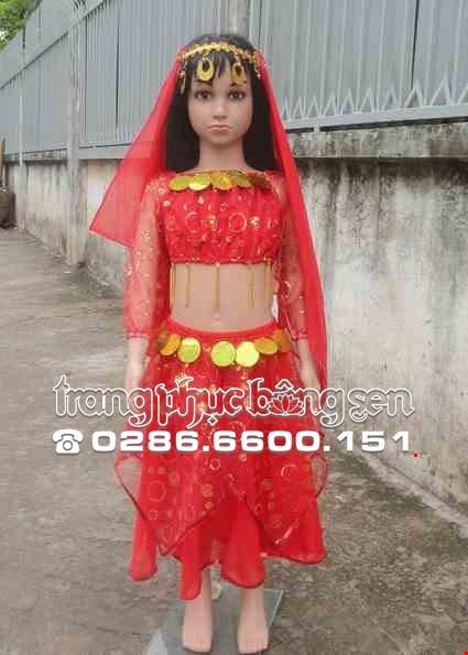 Cho thue Trang phục Ấn Độ (múa bụng, belly dance) mầm non áo váy kim sa đỏ