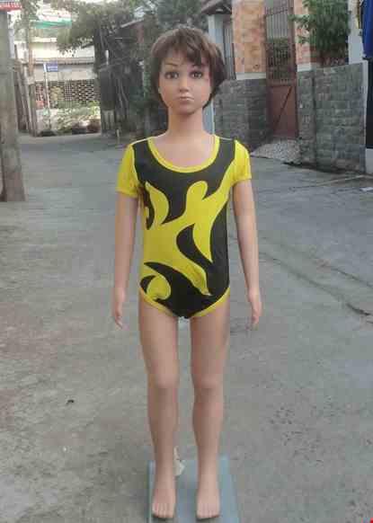 Cho thue Đồ múa aerobic mầm non màu vàng lửa đen