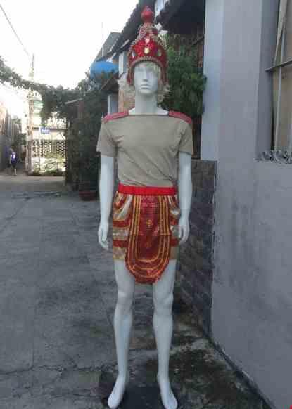 Cho thue Trang phục múa Champa - Apsara nam màu đỏ