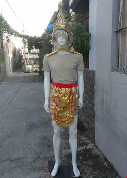 Cho thue Trang phục múa Champa - Apsara nam màu vàng