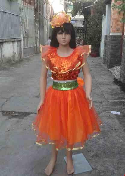 Cho thue Đầm múa trẻ em kim sa cam - xanh lá bèo cổ
