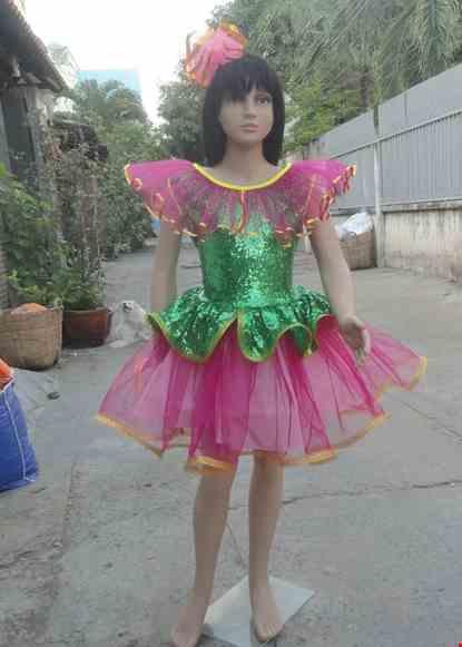 Cho thue Đầm múa trẻ em thân kim sa xanh lá bèo cổ váy hồng
