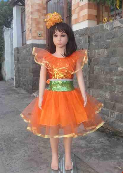 Cho thue Đầm múa mầm non kim sa cam - xanh lá bèo cổ