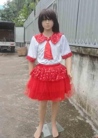 Cho thue Áo váy múa trẻ em thun trắng kim sa đỏ cổ bèo
