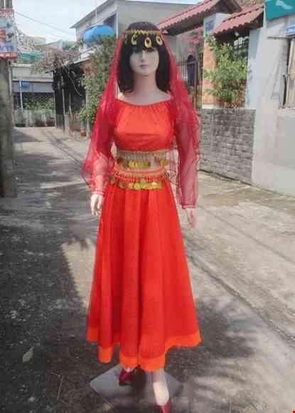 Cho thue Trang phục Ấn Độ (múa bụng, belly dance) áo váy kim sa đỏ