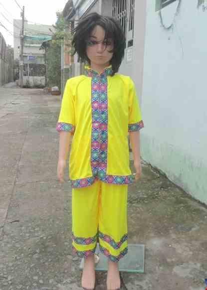 Cho thue Trang phục dân tộc Thái mầm non nam thun vàng