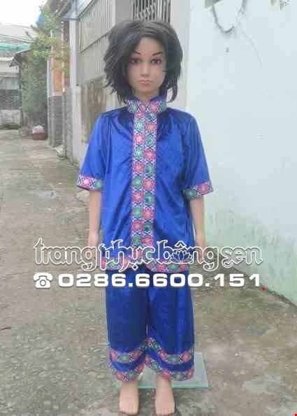 Cho thue Trang phục dân tộc Thái mầm non nam nhung xanh