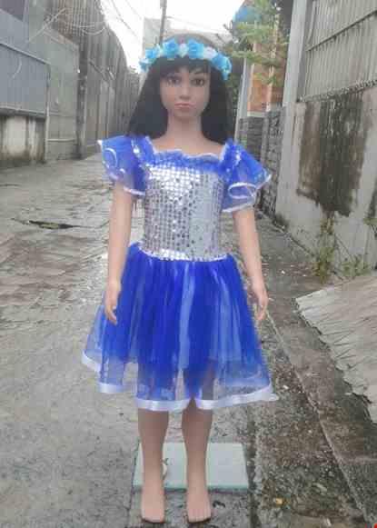 Cho thue Đầm múa mầm non kim thân sa trắng váy xanh bích