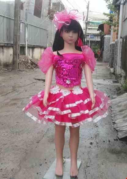 Cho thue Áo váy mầm non kim sa hồng 3 tầng