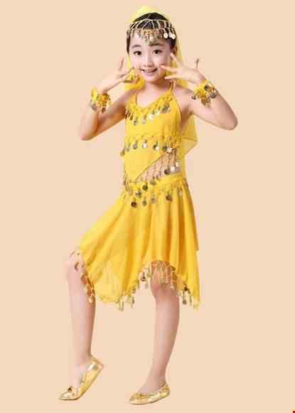 Cho thue Trang phục Ấn Độ (múa bụng, belly dance) mầm non yếm, váy vàng