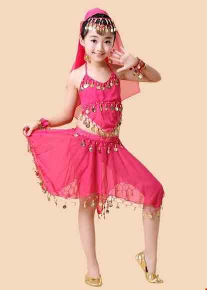 Cho thue Trang phục Ấn Độ (múa bụng, belly dance) mầm non yếm, váy hồng