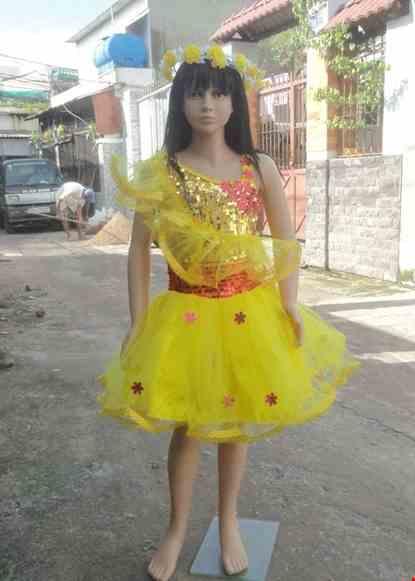 Cho thue Váy múa trẻ em kim sa vàng bèo chéo đai đỏ