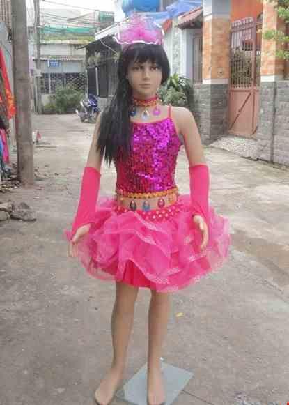 Cho thue Đồ nhảy hiện đại trẻ em áo váy kim sa hồng
