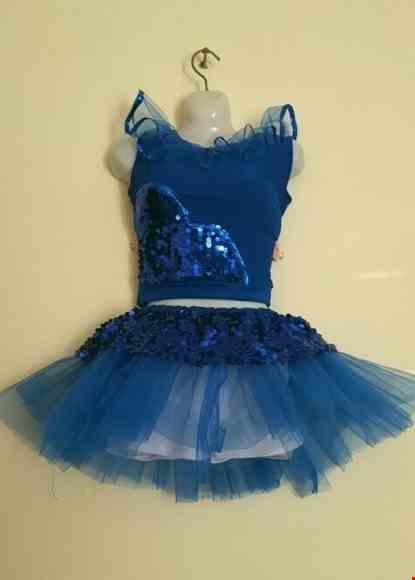 Cho thue Đồ múa cổ động áo váy xanh dương trẻ em