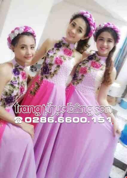 Cho thue Đồ múa đương đại hồng tím cổ trụ hoa thêu 3D